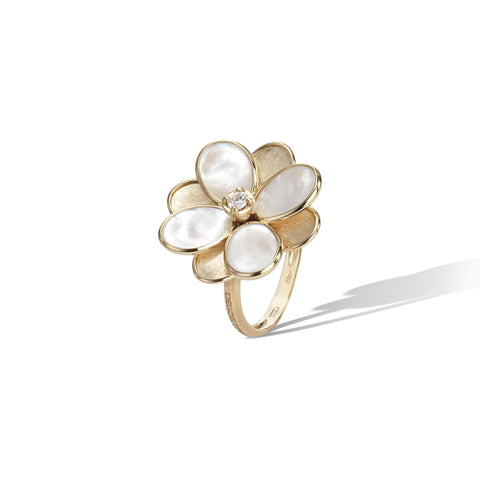 Marco Bicego® Petali Collection 18K Yellow Gold and Mother of Pearl Small Flower Ring