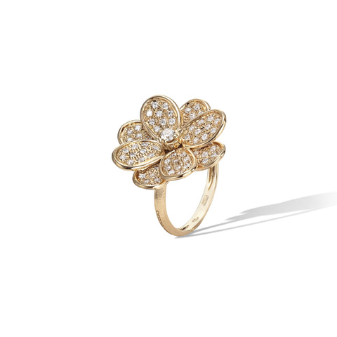 Marco Bicego® Petali Collection 18K Yellow Gold and Full Pave Medium Flower Ring