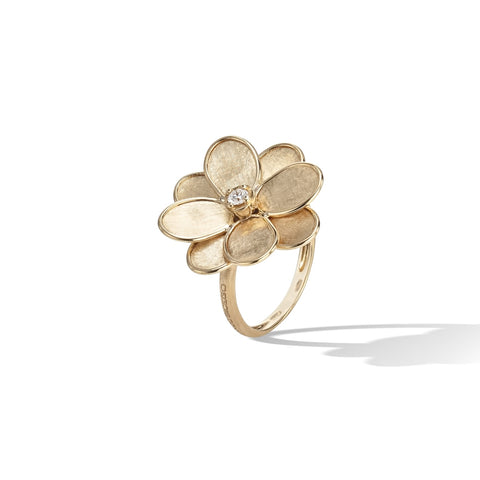 Marco Bicego® Petali Collection 18K Yellow Gold and Diamond Small Flower Ring
