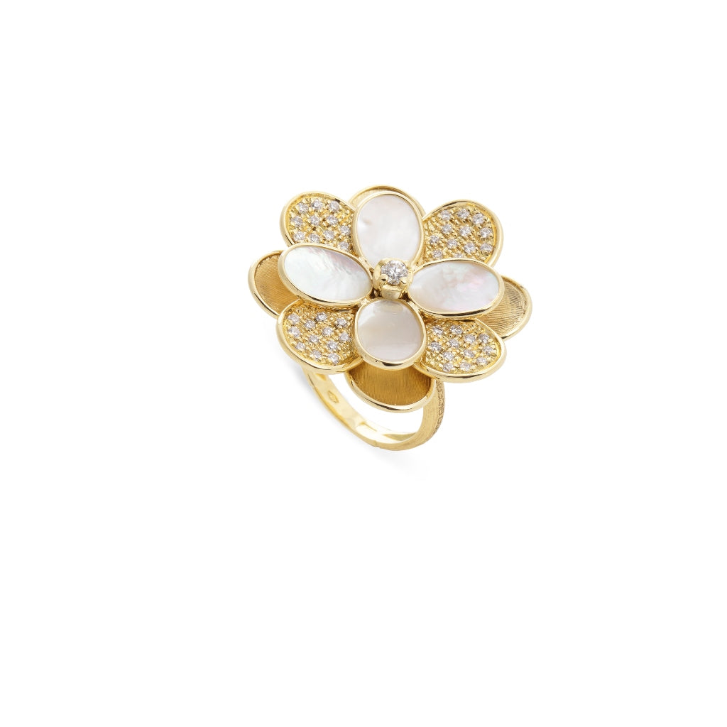 Marco Bicego® Petali Collection 18K Yellow Gold Mother of Pearl and Diamond Flower Ring