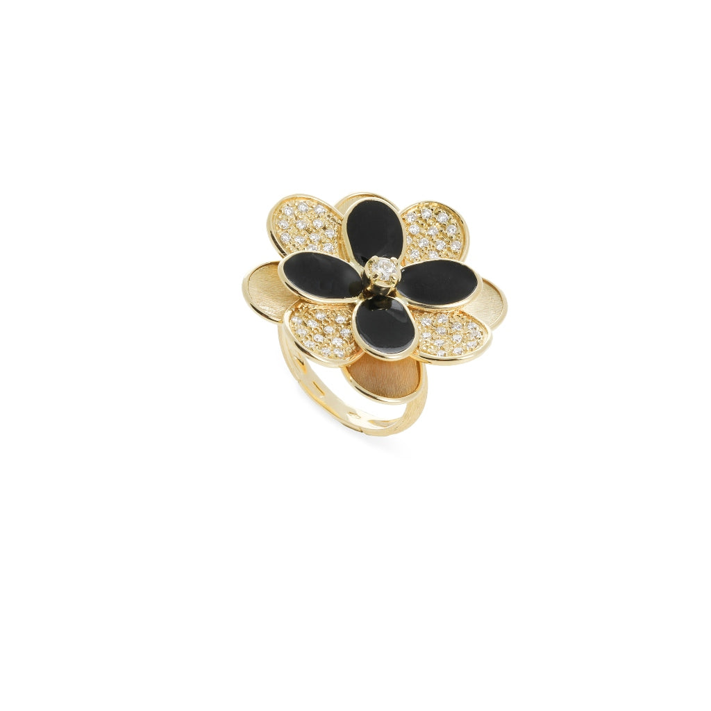 Marco Bicego® Petali Collection 18K Yellow Gold Black Enamel and Diamond Flower Ring