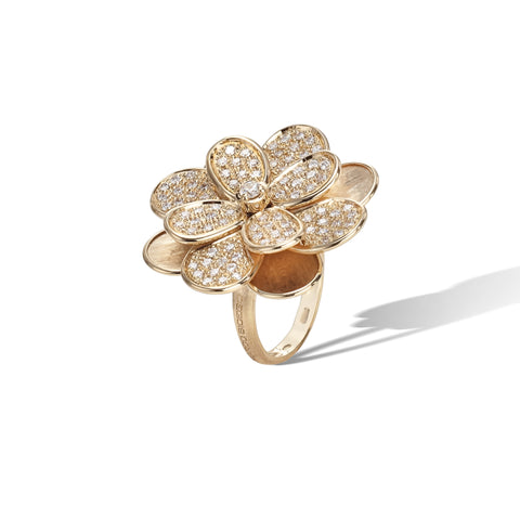 Marco Bicego® Petali Collection 18K Yellow Gold and Full Pave Large Flower Ring