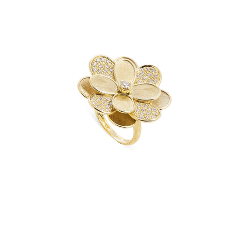 Marco Bicego® Petali Collection 18K Yellow Gold and Pave Large Flower Ring