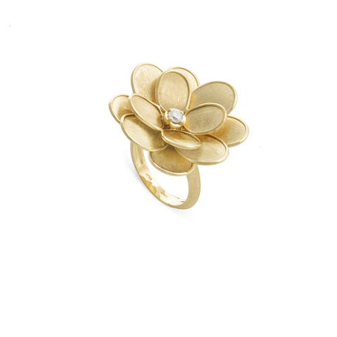 Petali 18K Yellow Gold and Diamond Large Flower Ring