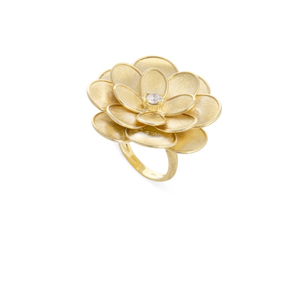 Marco Bicego® Petali Collection 18K Yellow Gold and Diamond Extra Large Flower Ring