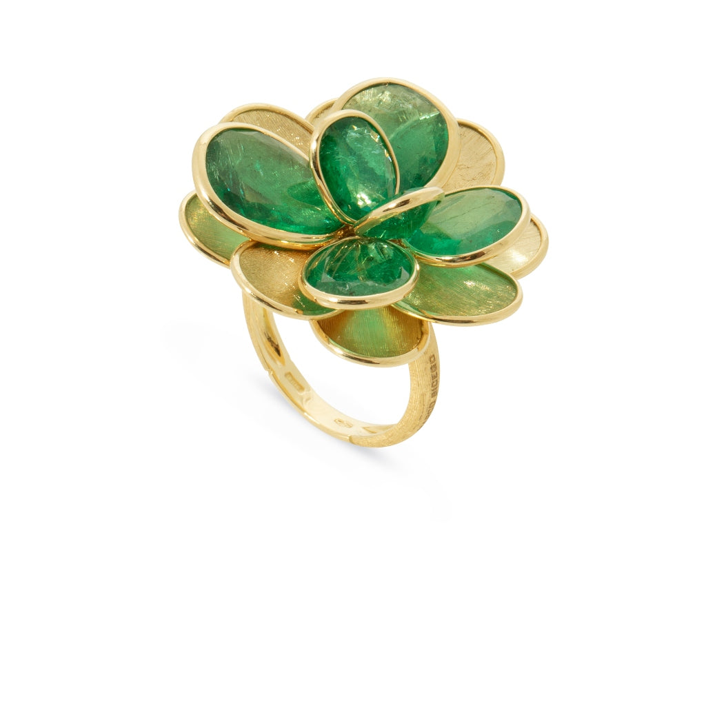 Marco Bicego® Unico Collection Petali 18K Yellow Gold and Emerald Ring