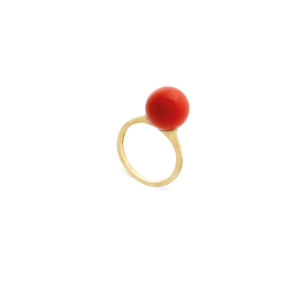 Africa Boules 18K Yellow Gold and Coral Ring