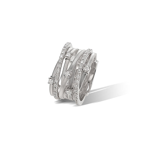Marco Bicego® Goa Collection 18K White Gold Seven Strand Diamond & Pave Ring In White Gold