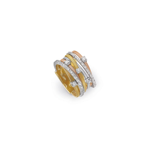 Goa Seven Strand Diamond & Pave Ring In Yellow, Rose & White Gold