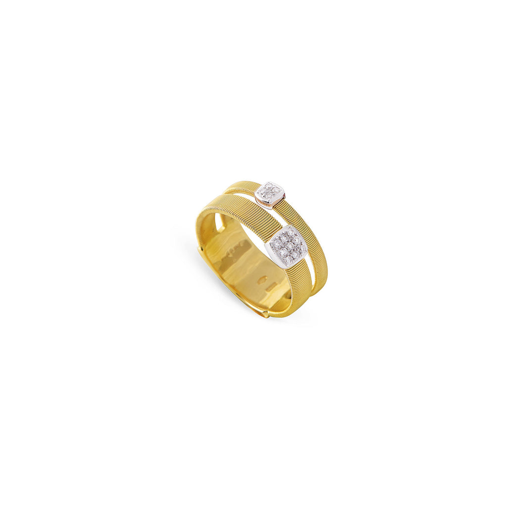 NEW -  Masai Two Strand Ring with Diamonds in Yellow Gold