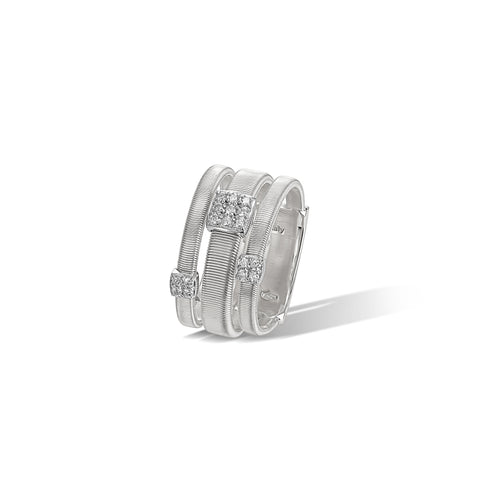 Marco Bicego® Masai Collection 18K White Gold and Diamond Three Strand Ring