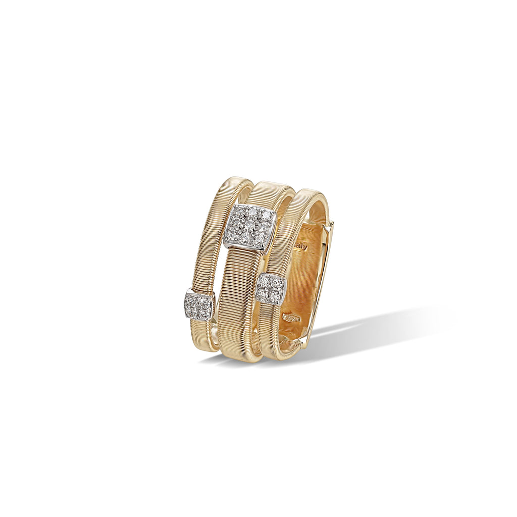 Marco Bicego® Masai Collection 18K Yellow Gold and Diamond Three Strand Ring