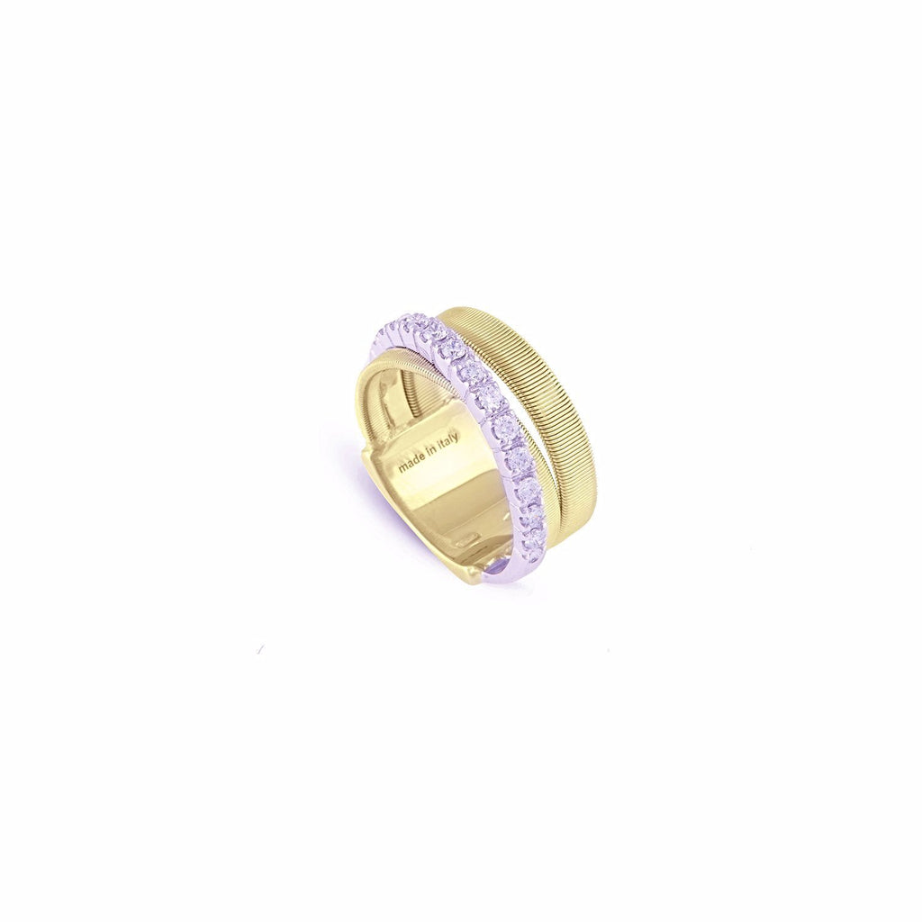 Masai Three Row Crossover Ring with Diamonds In Yellow Gold