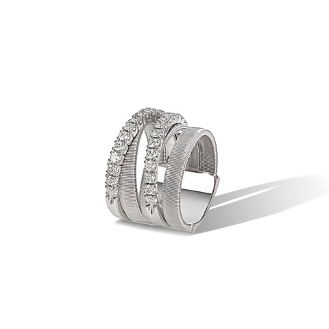 Marco Bicego® Masai Collection 18K White Gold and Diamond Five Strand Ring