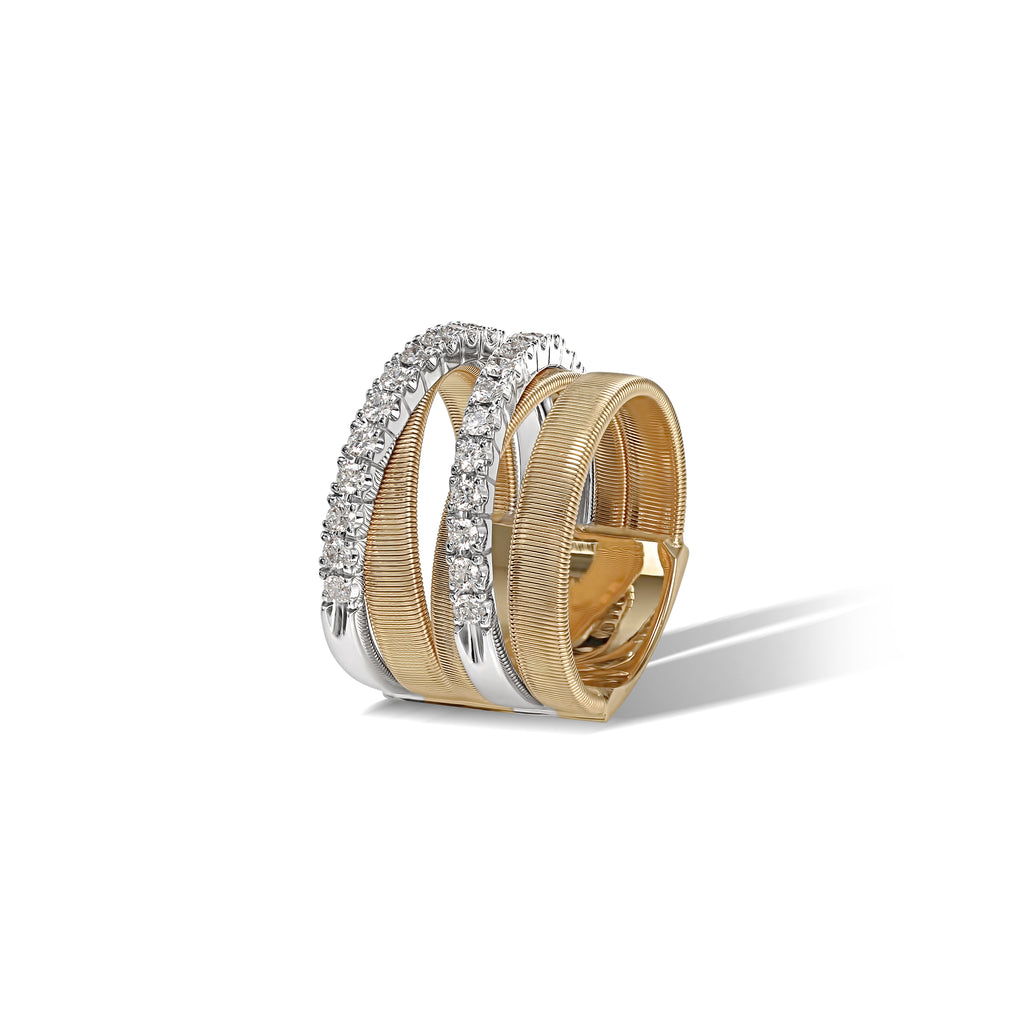 Marco Bicego® Masai Collection 18K Yellow and White Gold Five Row Crossover Ring with Diamonds
