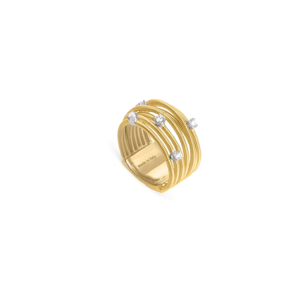 Marco Bicego® Bi49 Collection 18K Yellow Gold and Diamond Multi Row Band