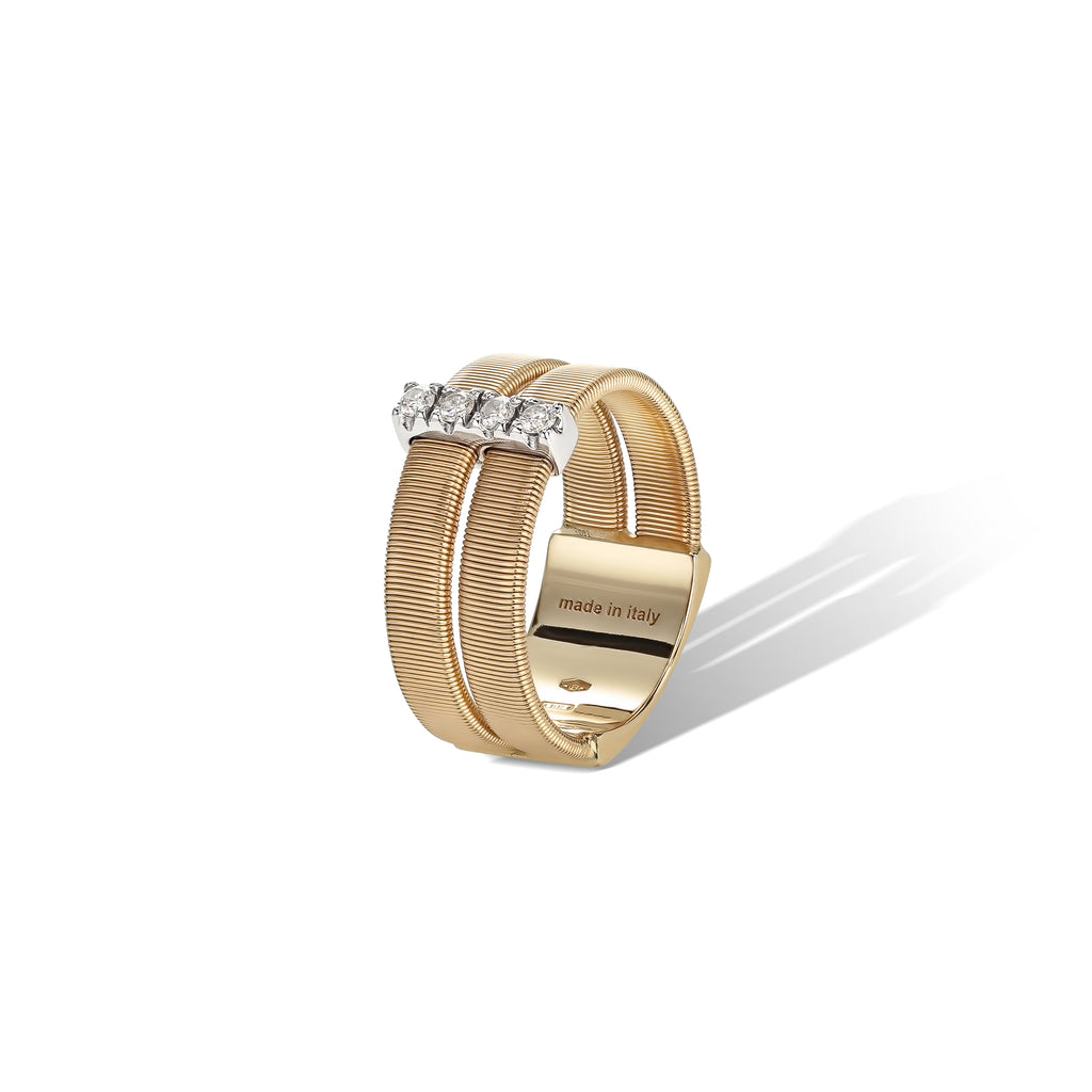 Marco Bicego® Masai Collection 18K Yellow Gold and Diamond Double Row Band