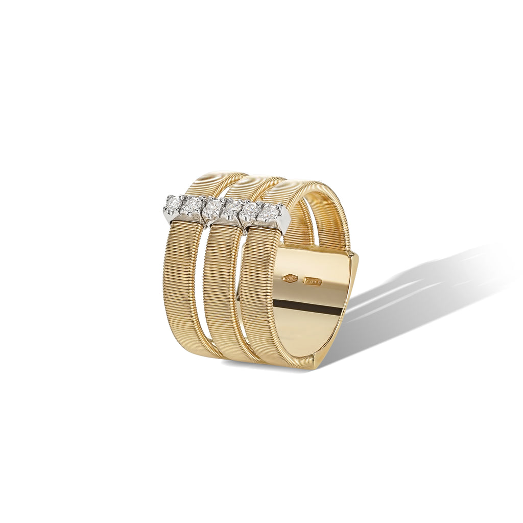 Marco Bicego® Masai Collection 18K Yellow Gold and Diamond Triple Row Band
