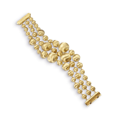 Africa Gold Three Strand Medium Gauge Bracelet