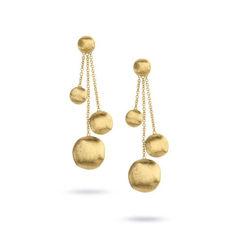 Africa Gold Three Strand Dangle Earrings