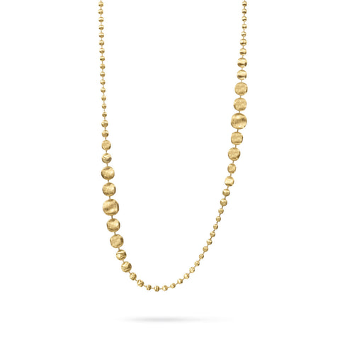 Africa 18K Yellow Gold Graduated Large Gauge Long Necklace