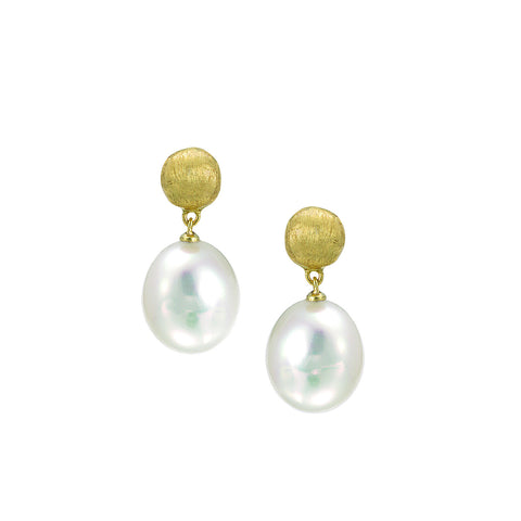 Africa 18K Yellow Gold and Pearl Small Drop Earrings