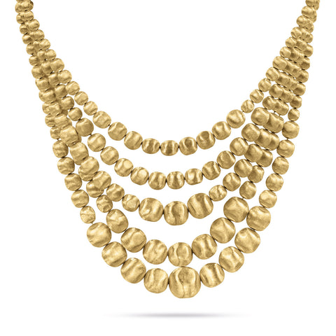 Africa Gold Five Strand Statement Necklace
