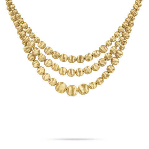 Africa Gold Three Strand Statement Necklace