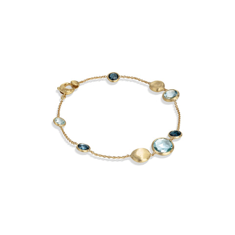 Marco Bicego® Jaipur Color Collection 18K Yellow Gold Mixed Blue Topaz Bracelet