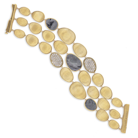 Lunaria Yellow Gold Black Mother of Pearl & Diamond Bracelet