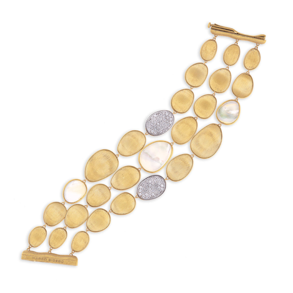 Lunaria Yellow Gold Mother of Pearl and Diamond Bracelet