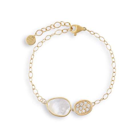 Lunaria White Mother of Pearl with Diamond Pave Chain Bracelet