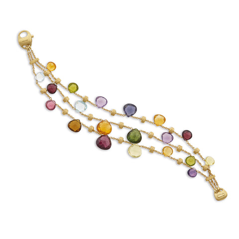Paradise Elevated Mixed Stone Graduated Three Strand Bracelet