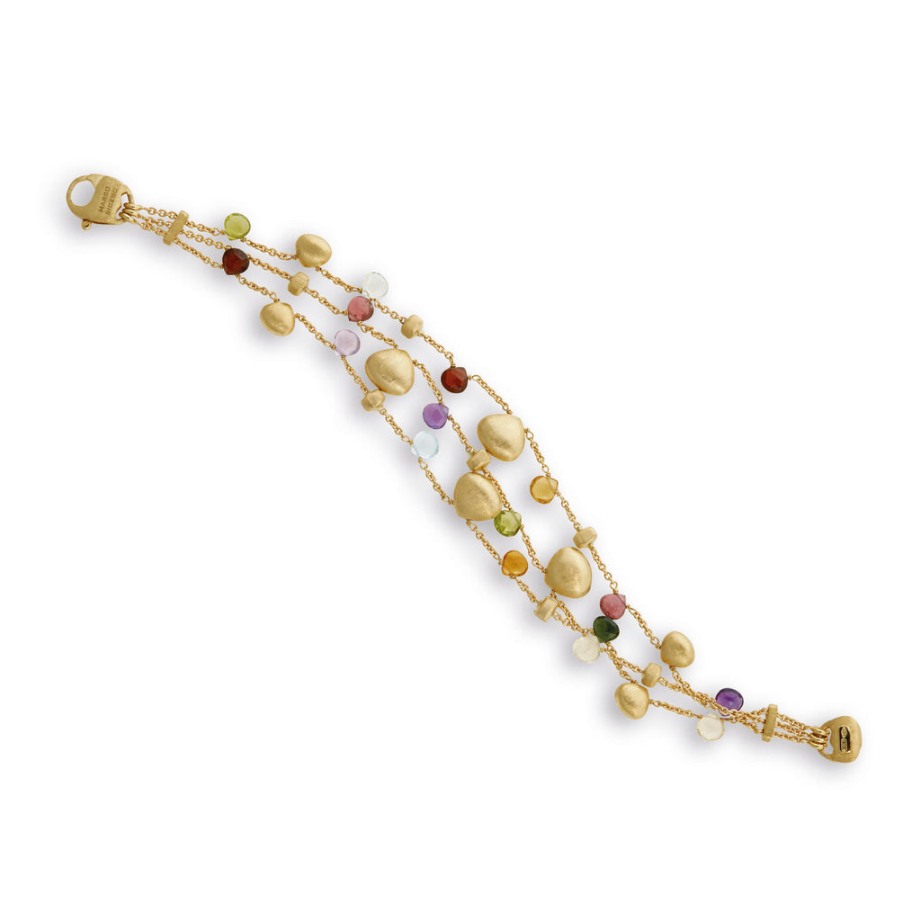 NEW- Paradise Mixed Stone and Gold Teardrop Three Strand Bracelet