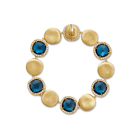 Jaipur 18K Yellow Gold London Blue Topaz and Diamond Bracelet