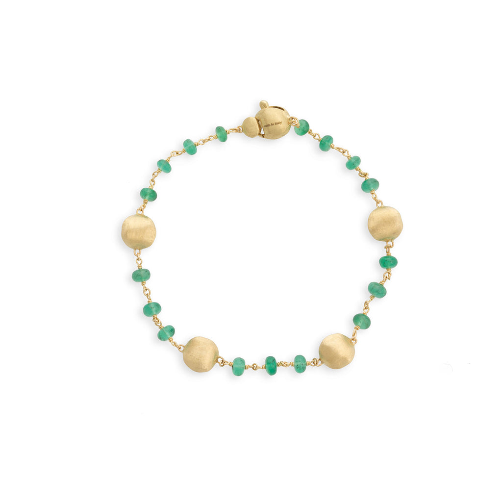 Marco Bicego® Africa Collection 18K Yellow Gold and Emerald Single Strand Bracelet