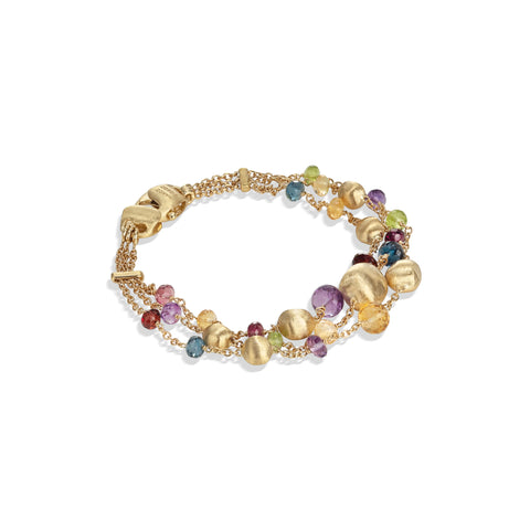 Marco Bicego® Africa Collection 18K Yellow Gold Mixed Gemstone Three Strand Bracelet