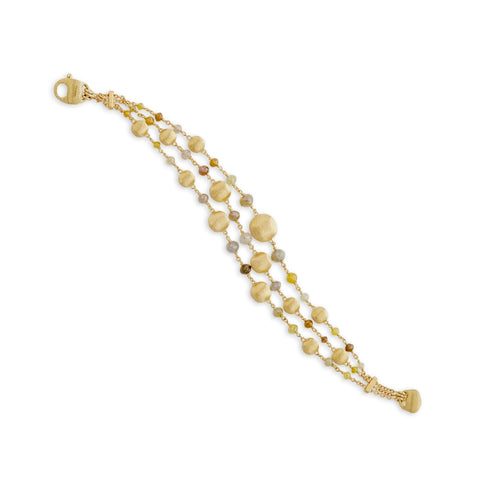 Marco Bicego® Unico Collection 18K Yellow Gold Rough Diamond Triple Strand Bracelet