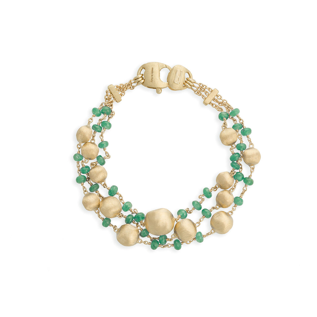Africa Emerald Three Strand Bracelet