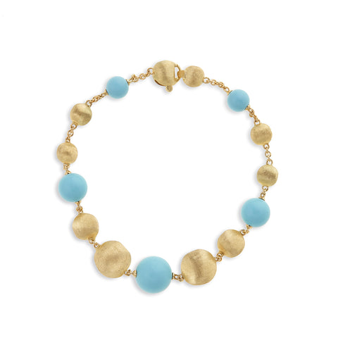 Africa Turquoise Gold and Turquoise Mixed Bead Bracelet