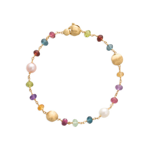 Africa Gemstone 18K Yellow Gold Mixed Gemstone and Pearl Single Strand Bracelet