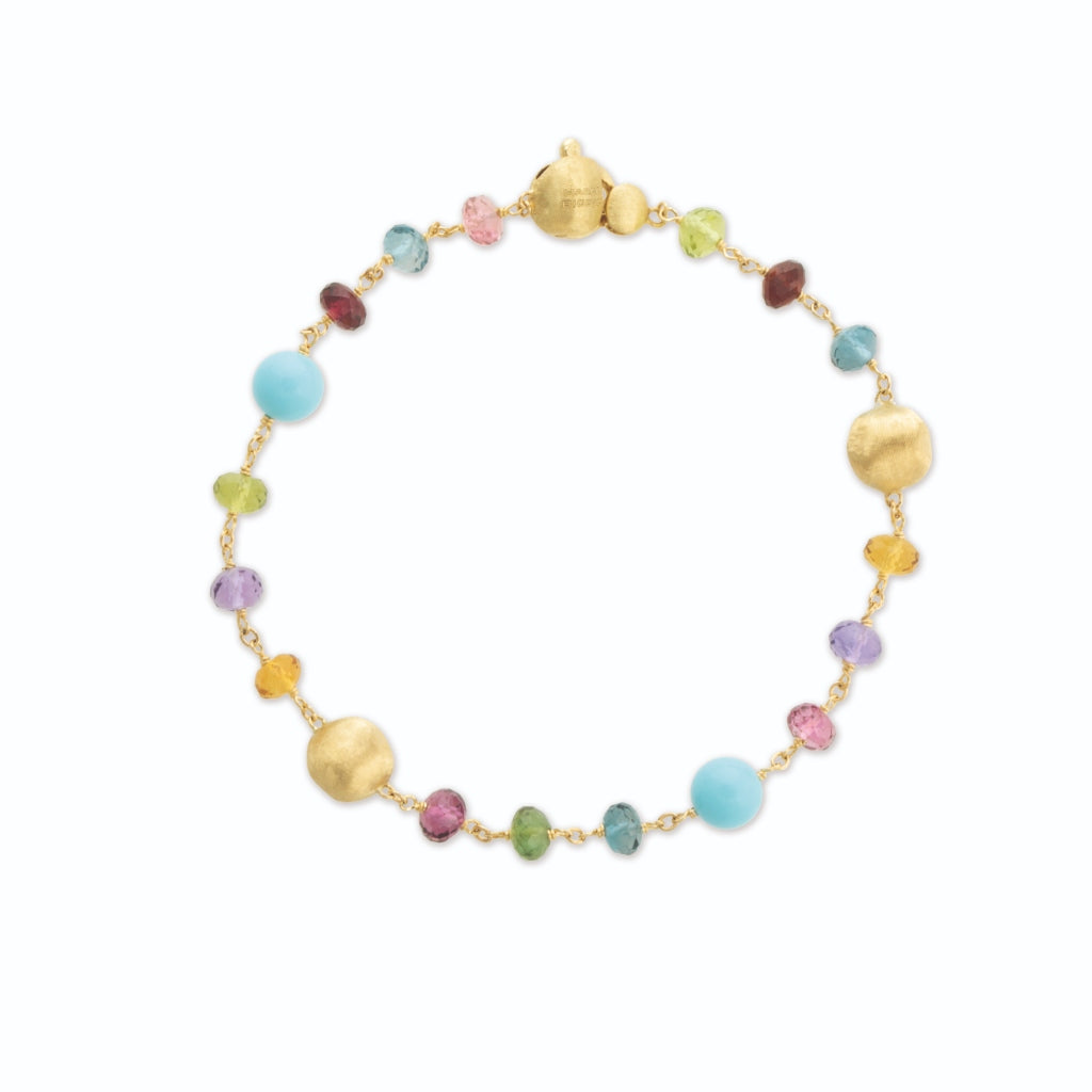 Africa Gemstone 18K Yellow Gold Mixed Gemstone and Turquoise Single Strand Bracelet
