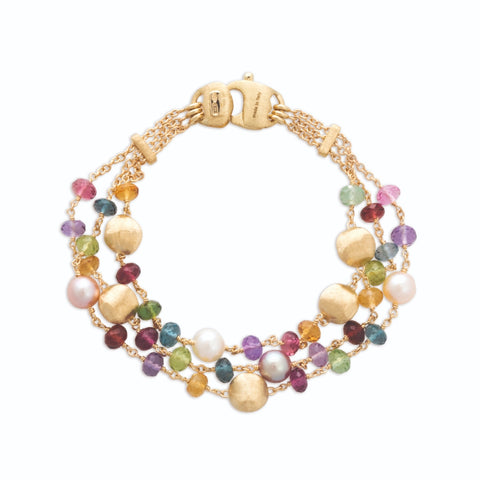 Africa Gemstone 18K Yellow Gold Mixed Gemstone and Pearl Triple Strand Bracelet
