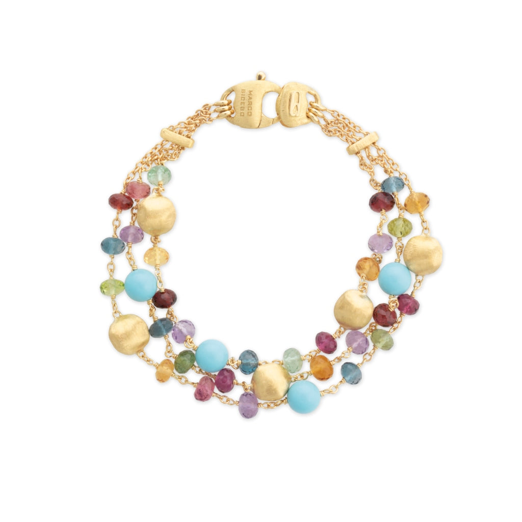 Marco Bicego® Africa Collection 18K Yellow Gold Mixed Gemstone and Turquoise Triple Strand Bracelet