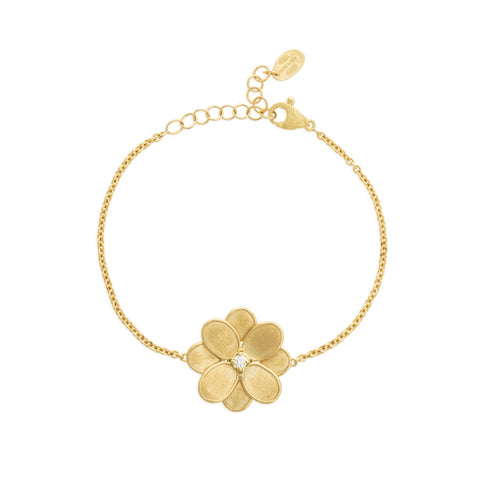 Marco Bicego® Petali Collection 18K Yellow Gold and Diamond Single Flower Bracelet
