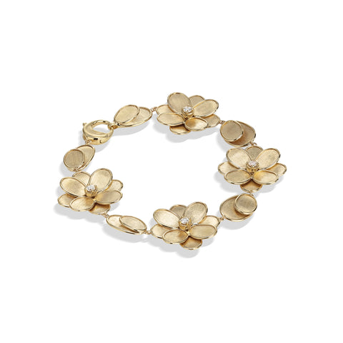 Marco Bicego® Petali Collection 18K Yellow Gold and Diamond Flower Bracelet