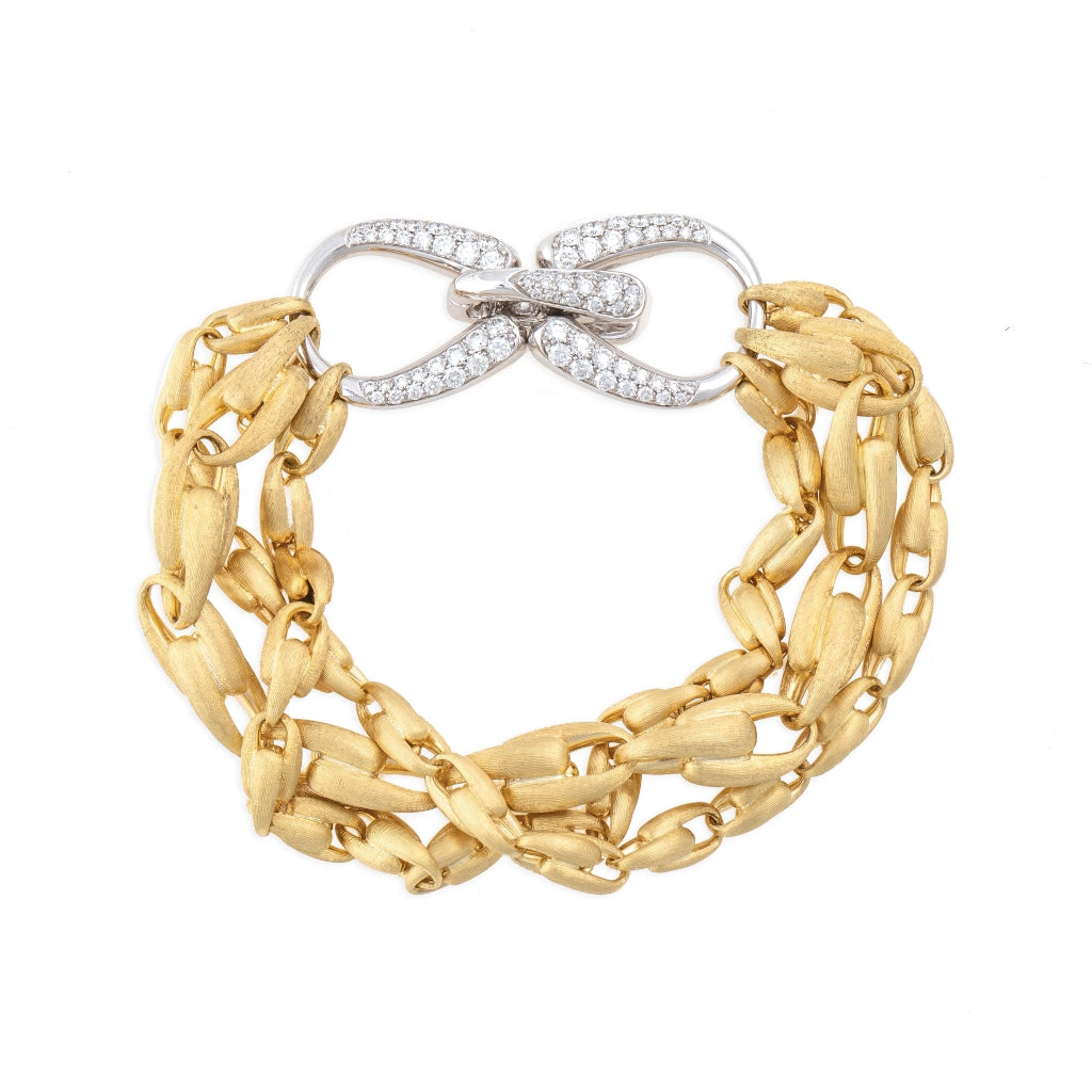 Marco Bicego® Unico Collection 18K Yellow Gold and Diamond Lucia Multi Strand Bracelet