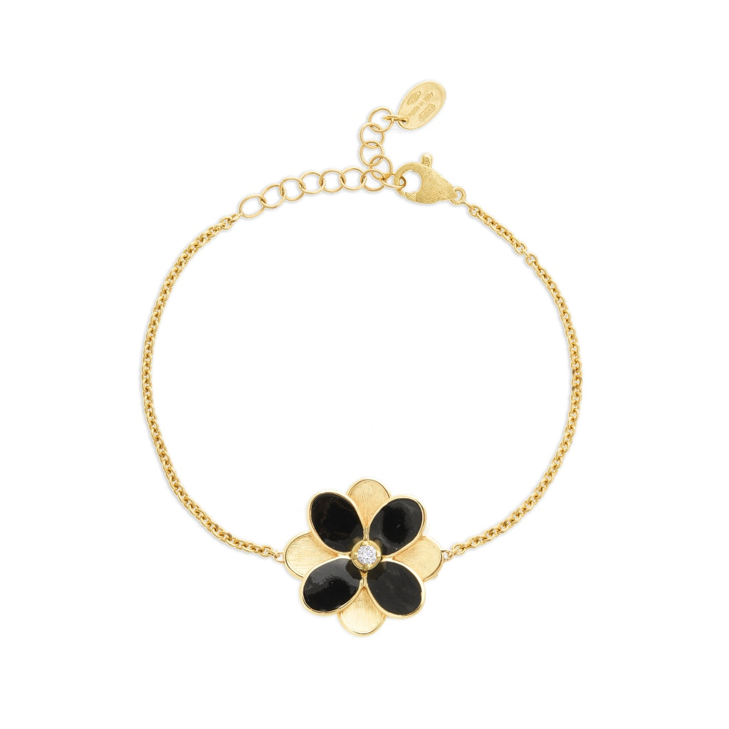 Marco Bicego® Petali Collection 18K Yellow Gold and Black Enamel Petal Bracelet