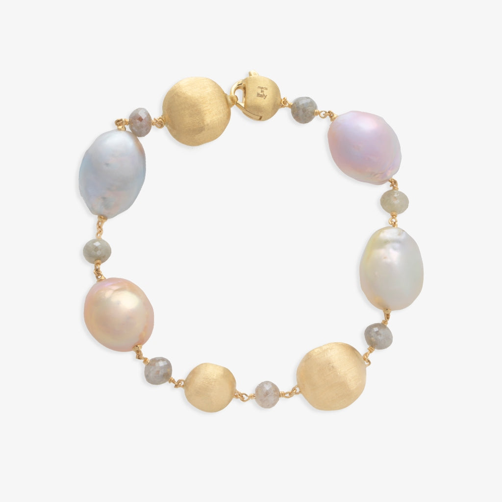 Marco Bicego® Unico Collection Africa 18K Yellow Gold Multi Color Diamond and South Sea Pearl Bracelet