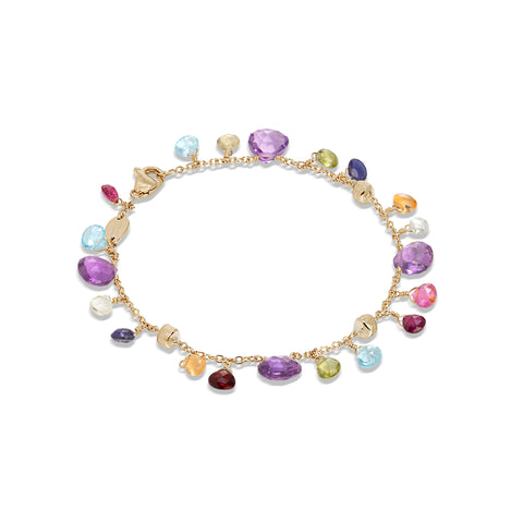 Marco Bicego® Paradise Collection 18K Yellow Gold Amethyst and Mixed Gemstone Single Strand Bracelet